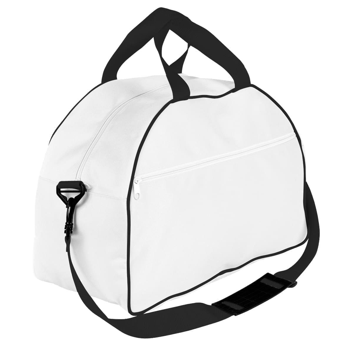 USA Made Nylon Poly Weekender Duffel Bags, White-Black, 6PKV32JA3R