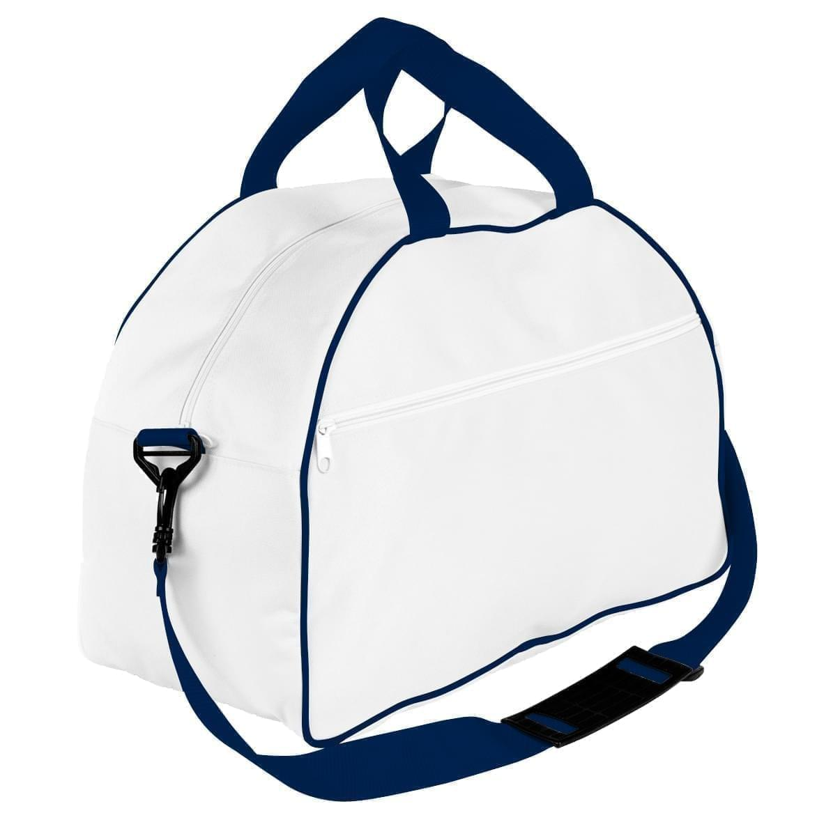 USA Made Nylon Poly Weekender Duffel Bags, White-Navy, 6PKV32JA3Z