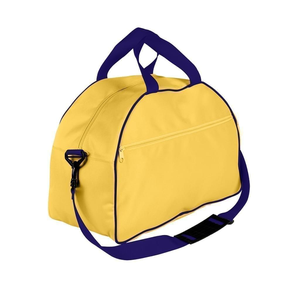 USA Made Nylon Poly Weekender Duffel Bags, Gold-Purple, 6PKV32JA41