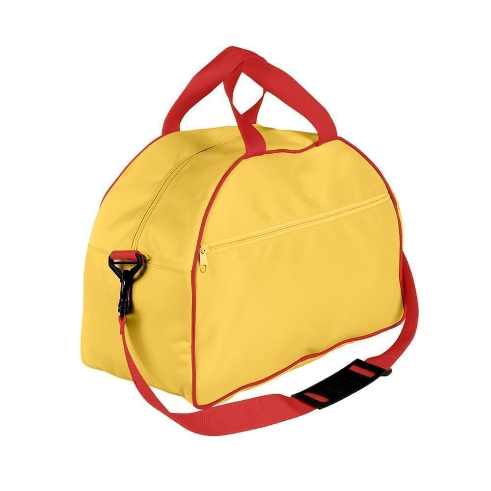 USA Made Nylon Poly Weekender Duffel Bags, Gold-Red, 6PKV32JA42