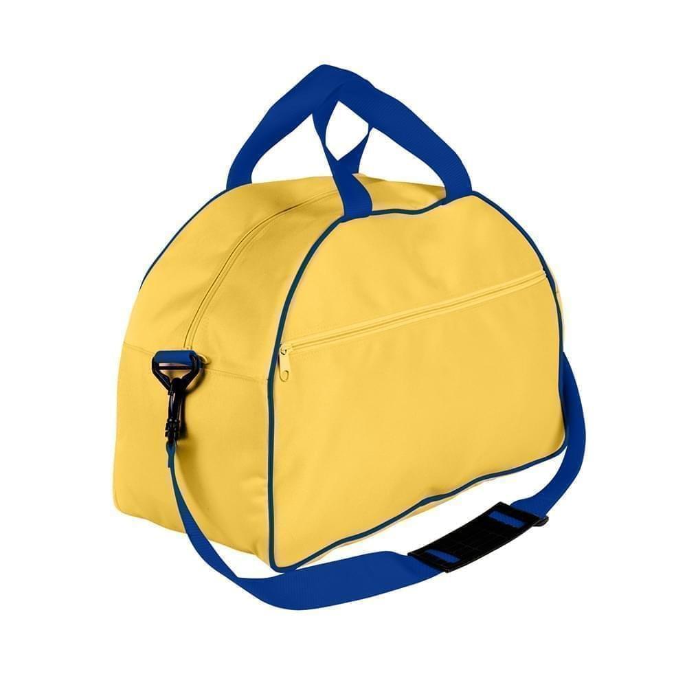 USA Made Nylon Poly Weekender Duffel Bags, Gold-Royal Blue, 6PKV32JA43