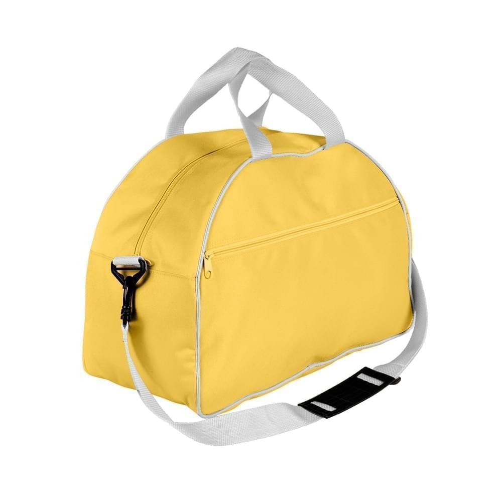 USA Made Nylon Poly Weekender Duffel Bags, Gold-White, 6PKV32JA44