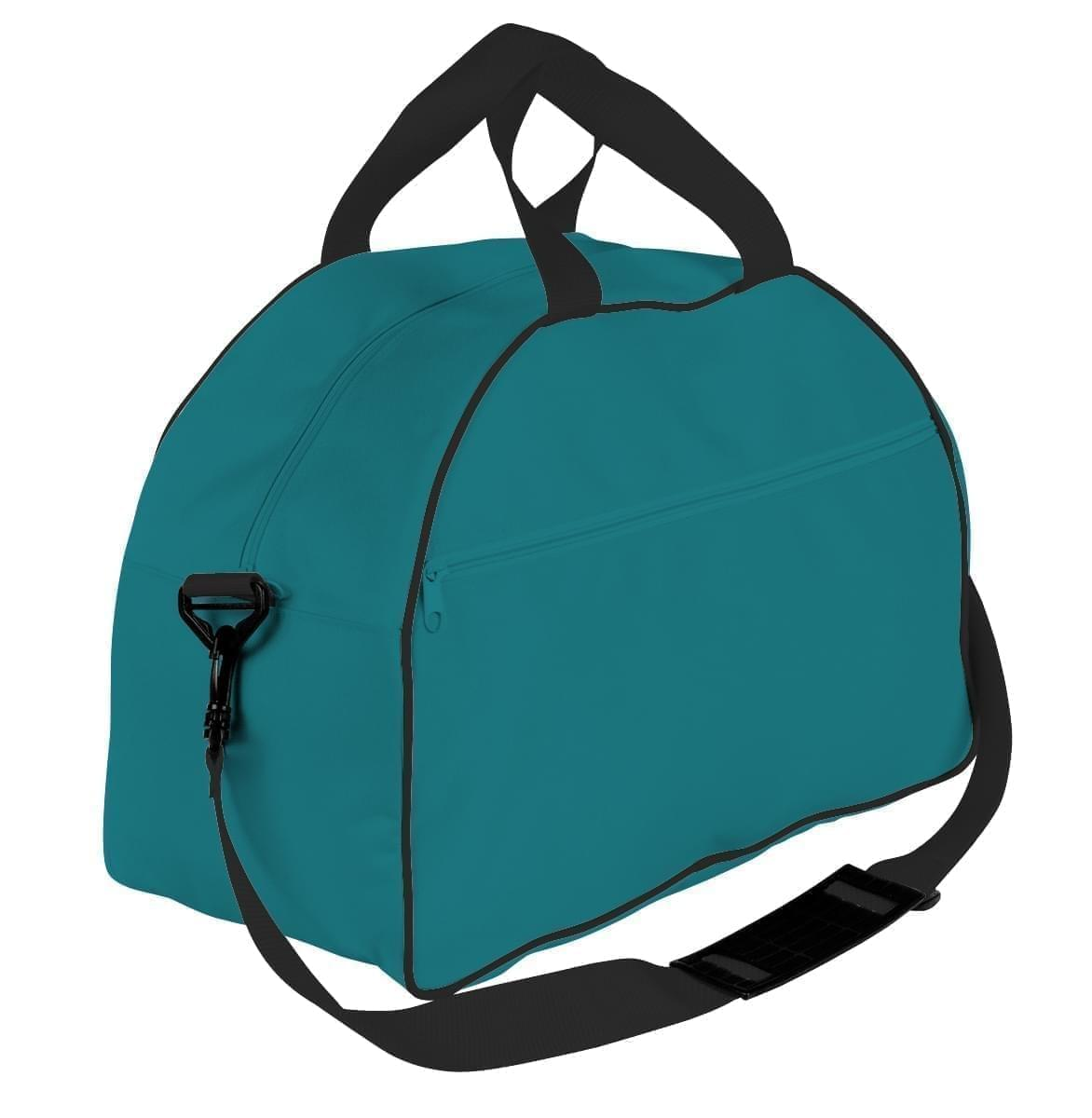USA Made Nylon Poly Weekender Duffel Bags, Turquoise-Black, 6PKV32JA9R