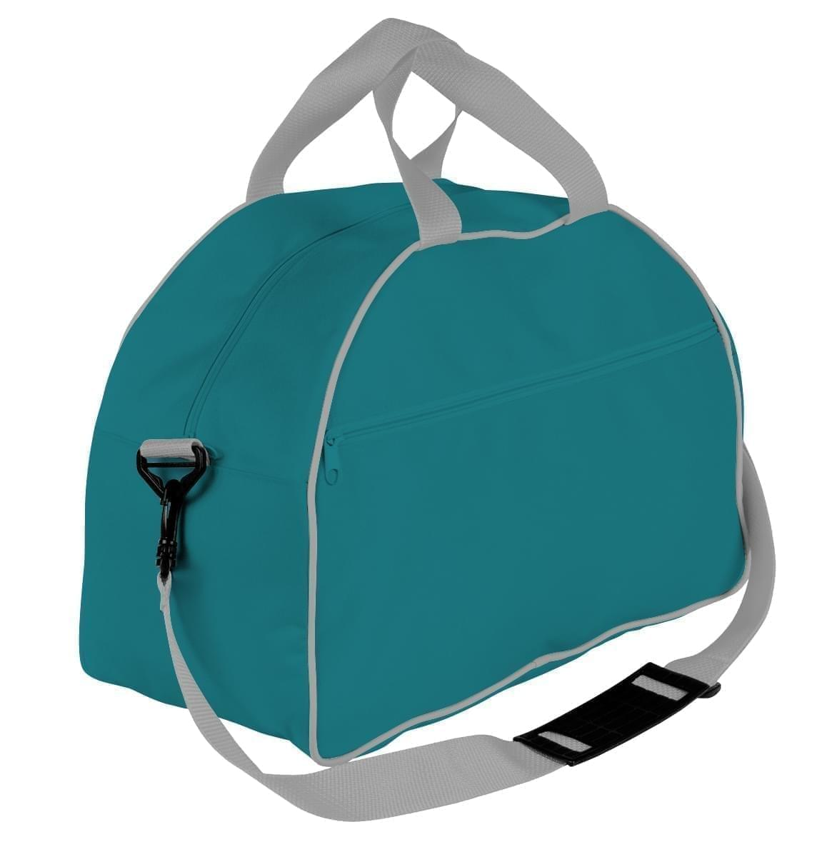 USA Made Nylon Poly Weekender Duffel Bags, Turquoise-Grey, 6PKV32JA9U