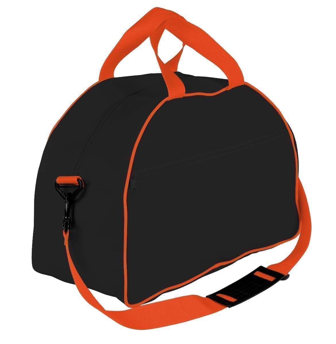 USA Made Nylon Poly Weekender Duffel Bags, Black-Orange, 6PKV32JAO0