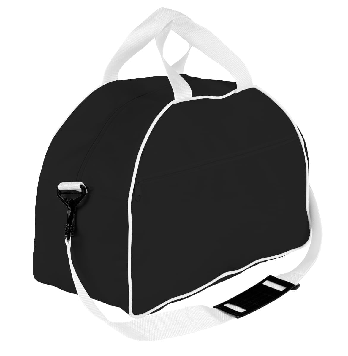 USA Made Nylon Poly Weekender Duffel Bags, Black-White, 6PKV32JAO4