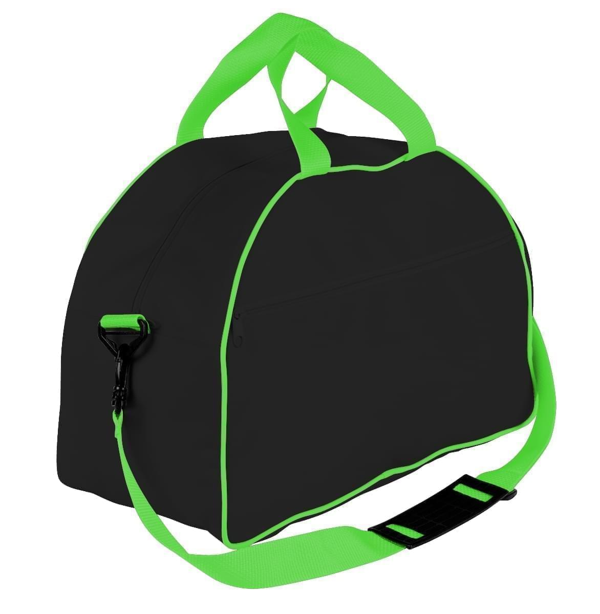 USA Made Nylon Poly Weekender Duffel Bags, Black-Lime, 6PKV32JAOY