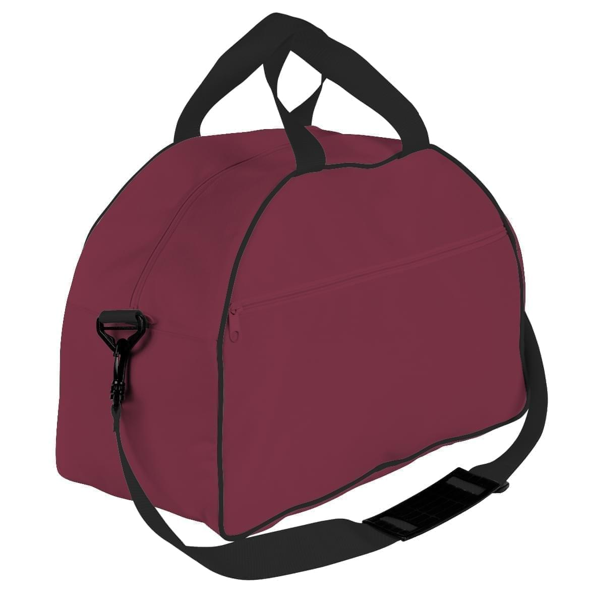USA Made Nylon Poly Weekender Duffel Bags, Burgundy-Black, 6PKV32JAQR