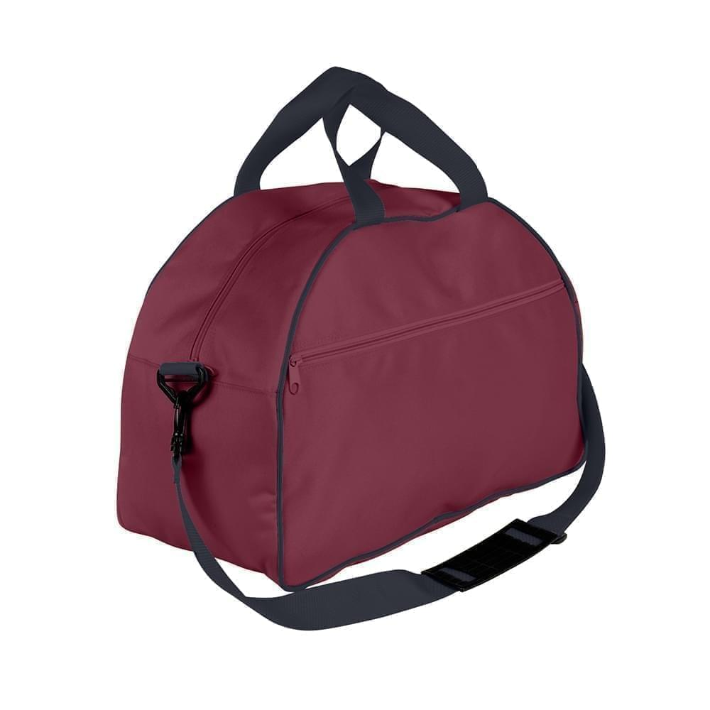 USA Made Nylon Poly Weekender Duffel Bags, Burgundy-Graphite, 6PKV32JAQT
