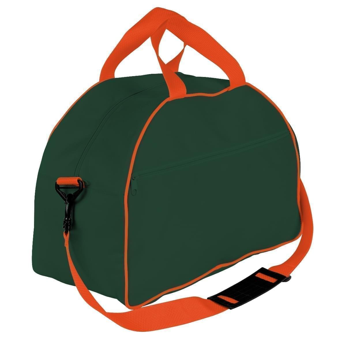 USA Made Nylon Poly Weekender Duffel Bags, Hunter Green-Orange, 6PKV32JAS0