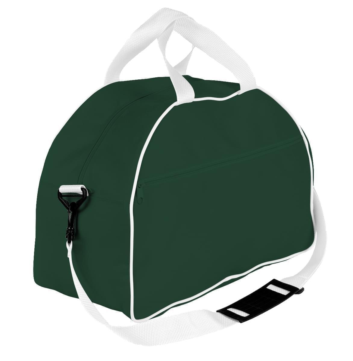 USA Made Nylon Poly Weekender Duffel Bags, Hunter Green-White, 6PKV32JAS4