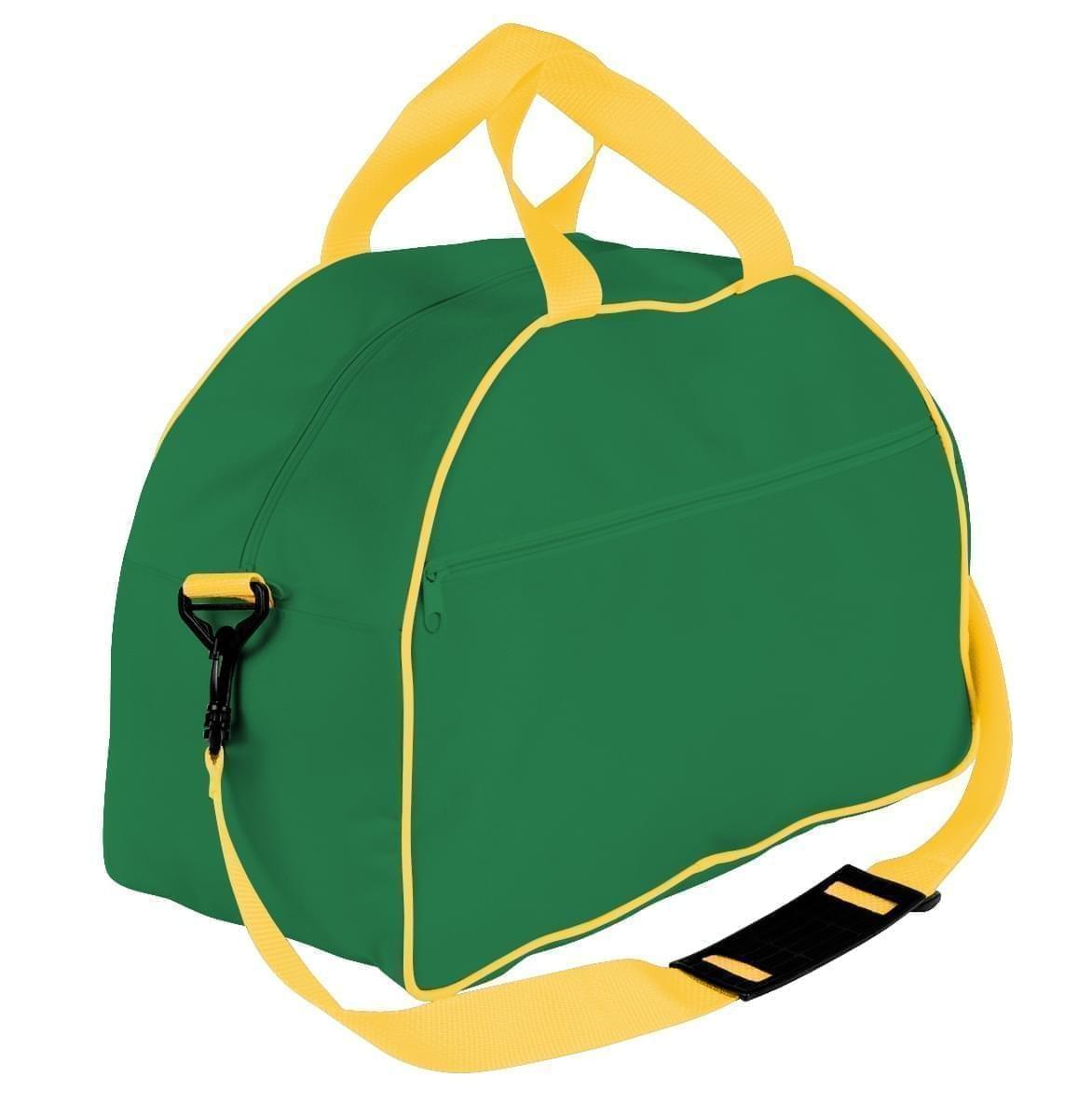 USA Made Nylon Poly Weekender Duffel Bags, Kelly Green-Gold, 6PKV32JAT5
