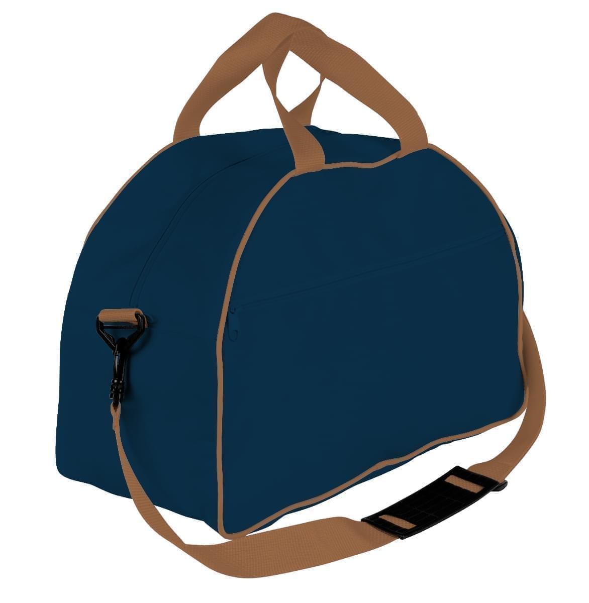 USA Made Nylon Poly Weekender Duffel Bags, Navy-Bronze, 6PKV32JAVO