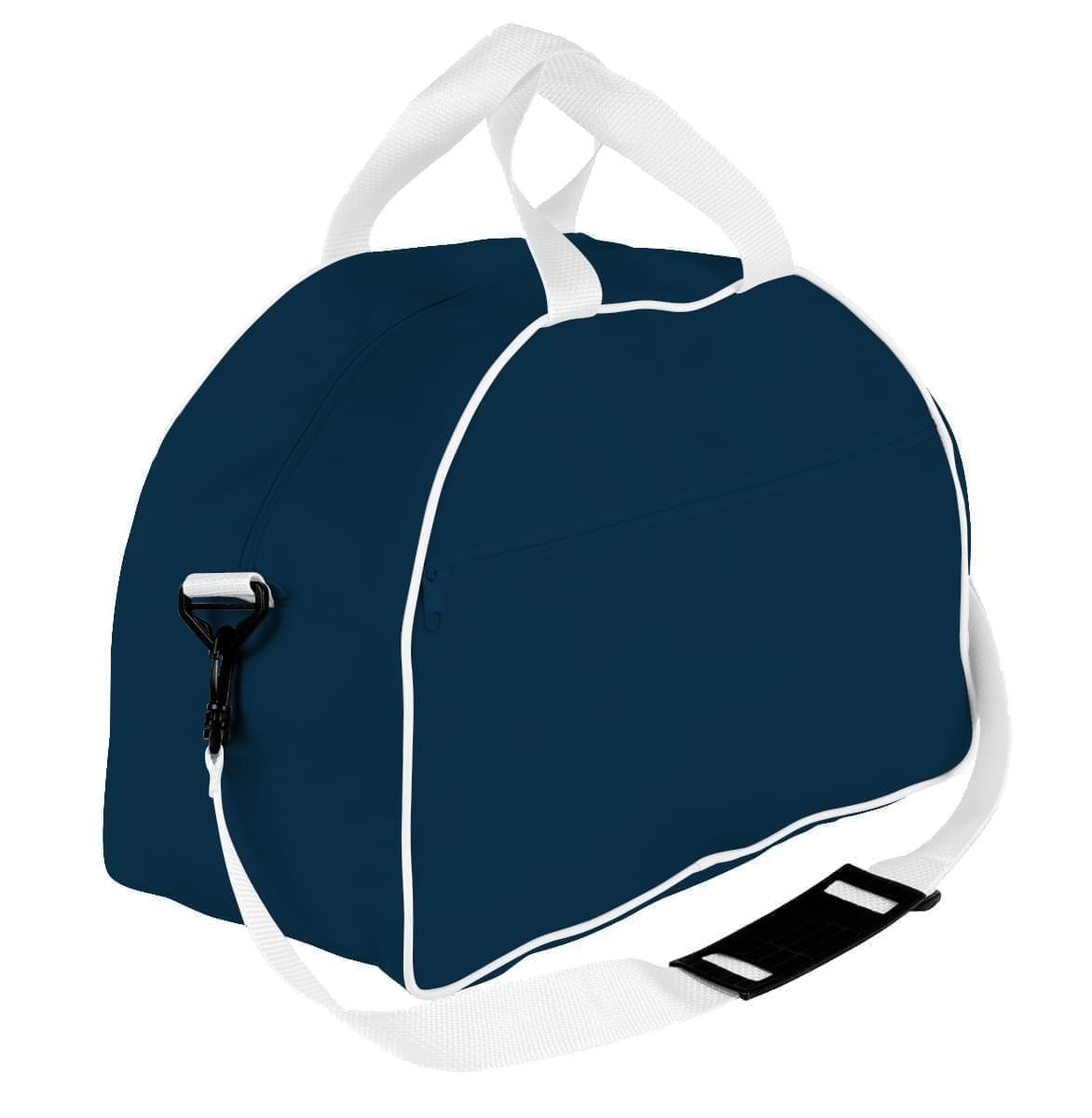 USA Made Nylon Poly Weekender Duffel Bags, Navy-White, 6PKV32JAW4