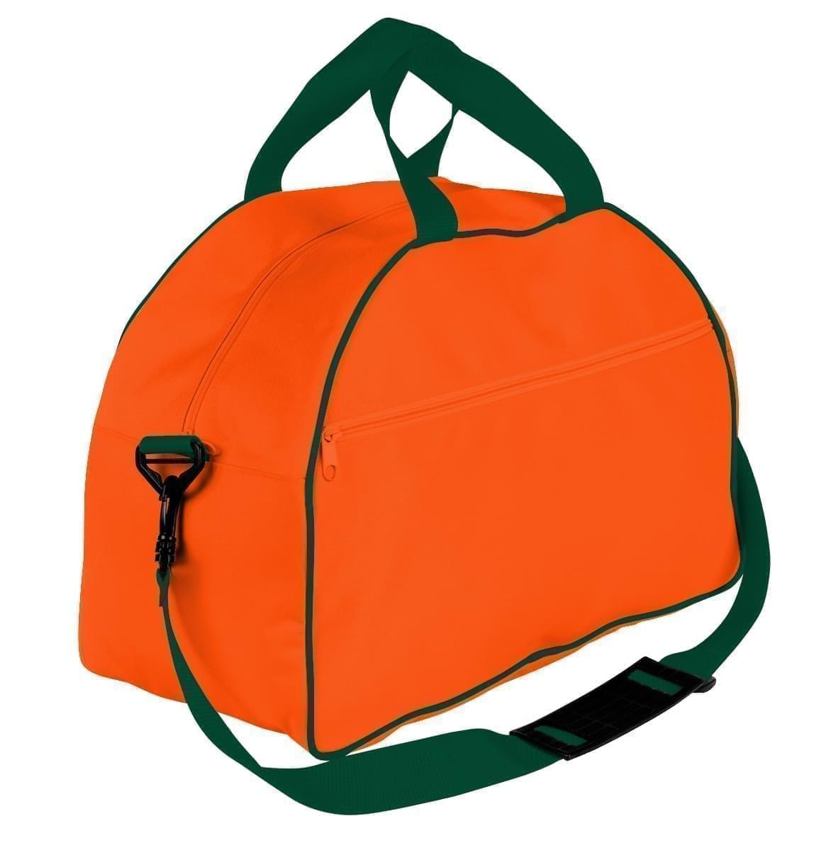 USA Made Nylon Poly Weekender Duffel Bags, Orange-Hunter Green, 6PKV32JAXV