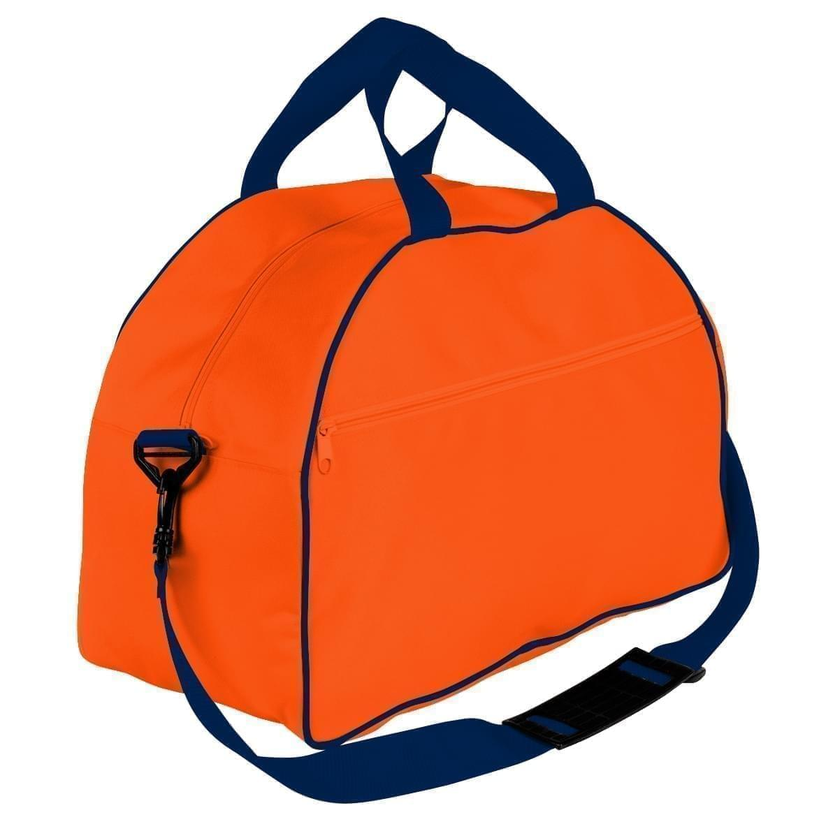 USA Made Nylon Poly Weekender Duffel Bags, Orange-Navy, 6PKV32JAXZ