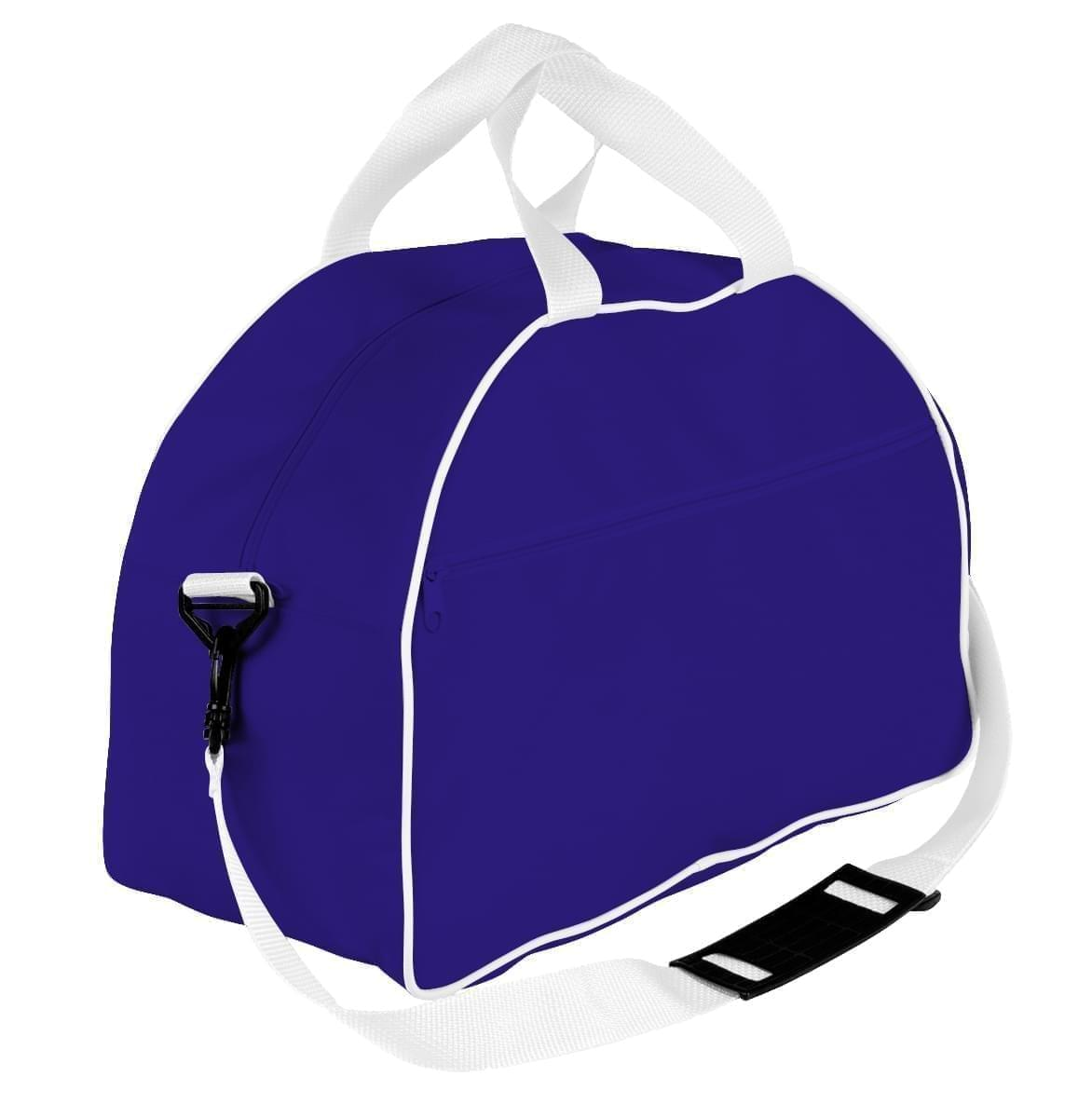 USA Made Nylon Poly Weekender Duffel Bags, Purple-White, 6PKV32JAY4