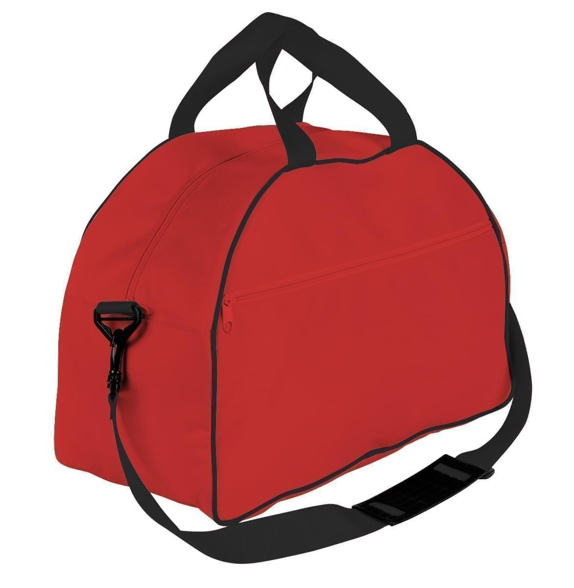 USA Made Nylon Poly Weekender Duffel Bags, Red-Black, 6PKV32JAZR