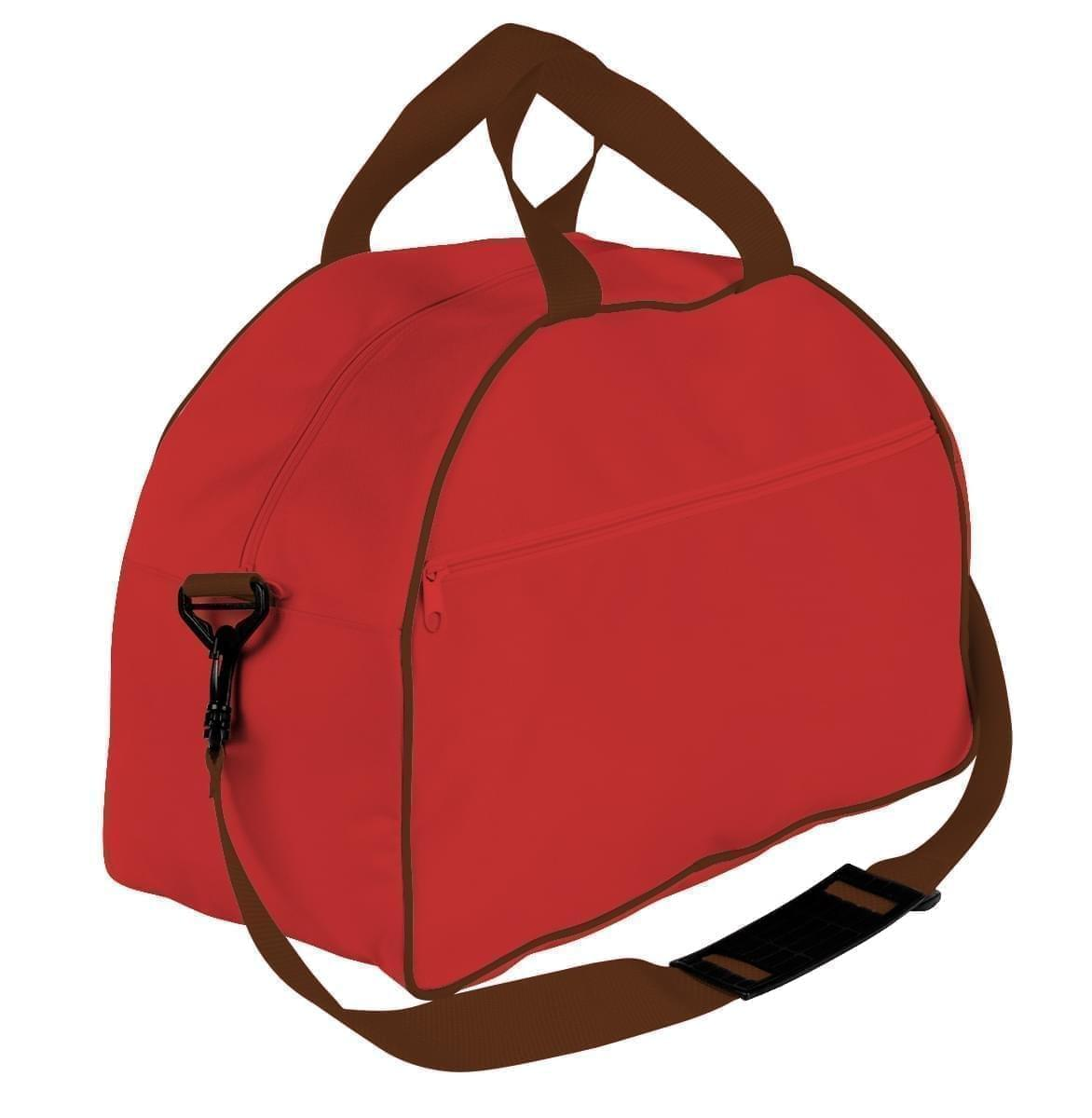 USA Made Nylon Poly Weekender Duffel Bags, Red-Brown, 6PKV32JAZS
