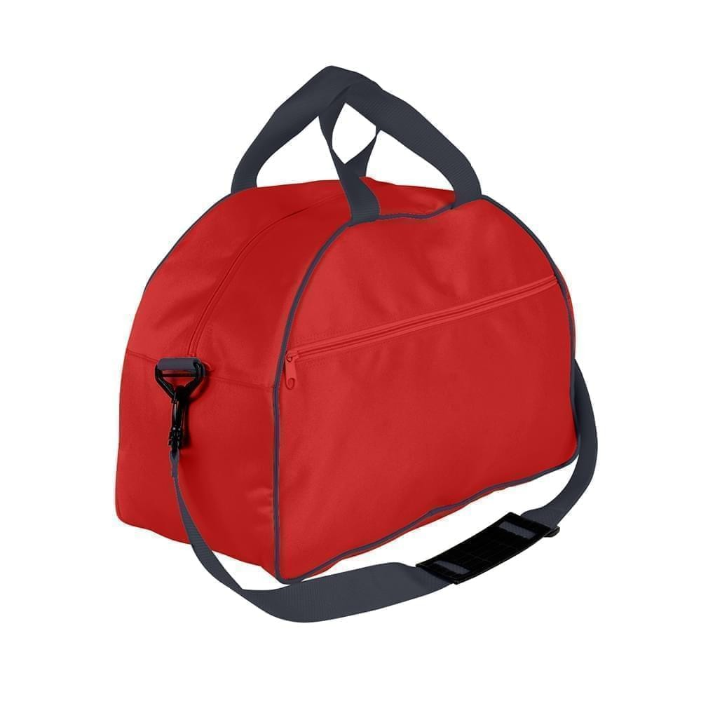USA Made Nylon Poly Weekender Duffel Bags, Red-Graphite, 6PKV32JAZT