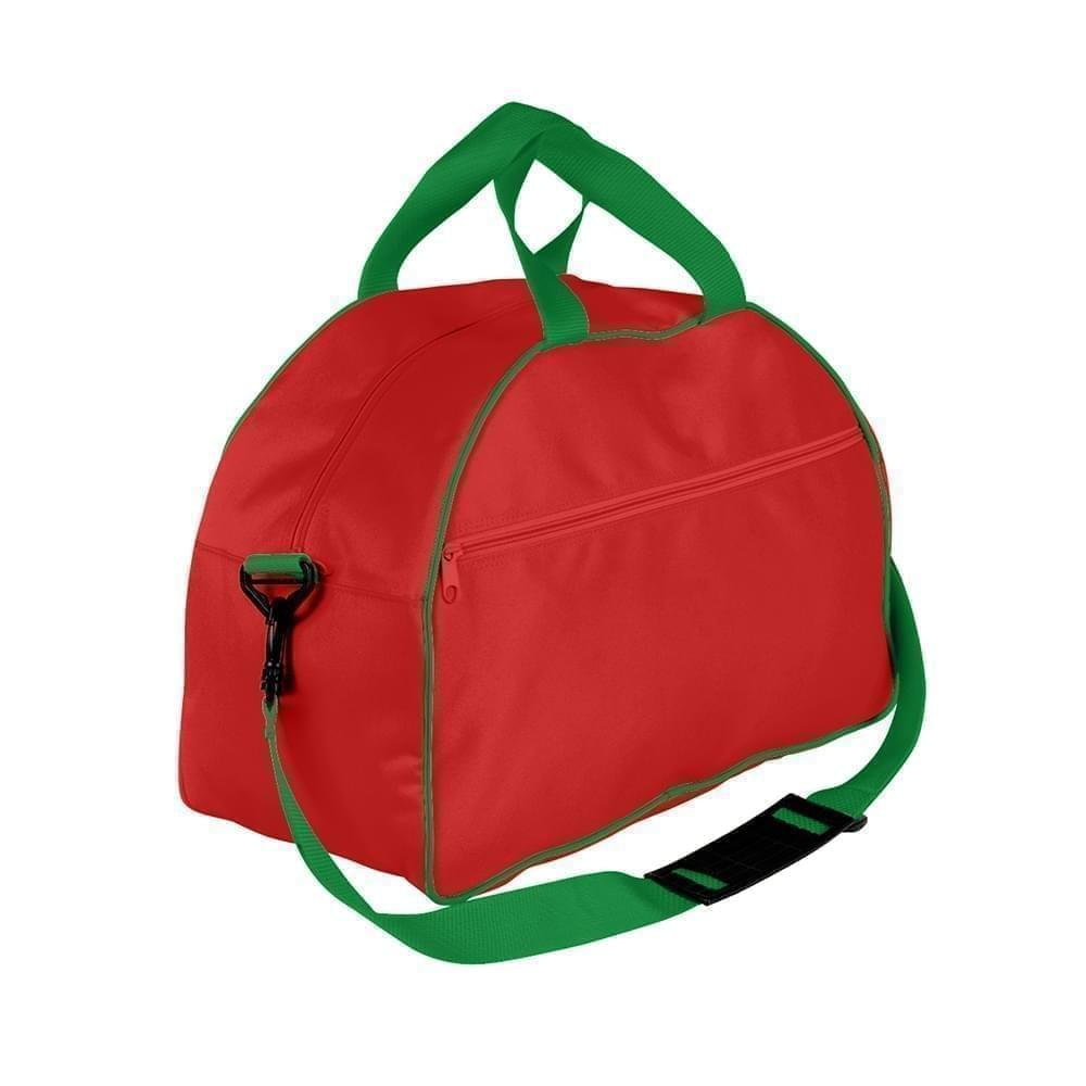 USA Made Nylon Poly Weekender Duffel Bags, Red-Kelly Green, 6PKV32JAZW