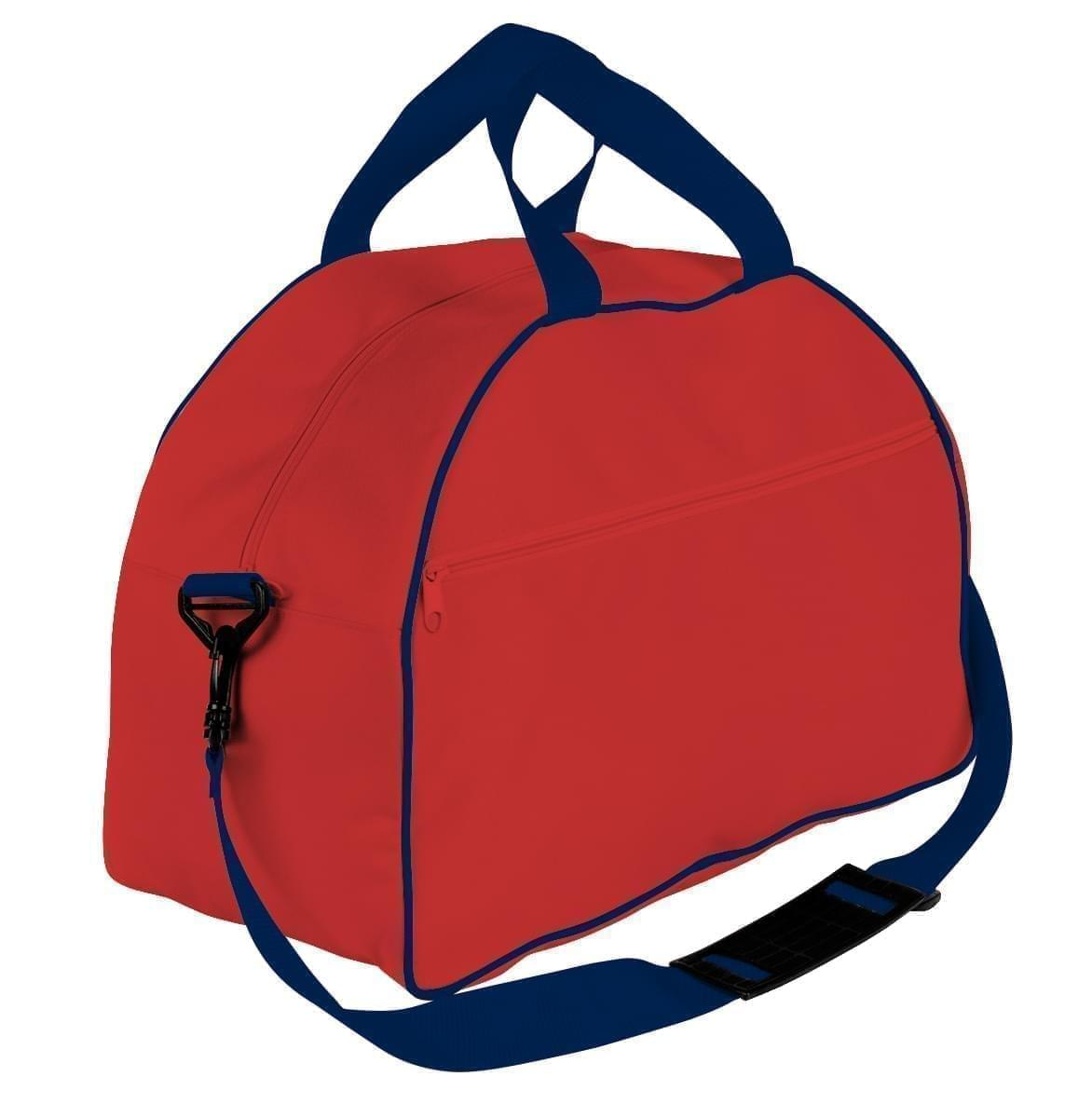 USA Made Nylon Poly Weekender Duffel Bags, Red-Navy, 6PKV32JAZZ