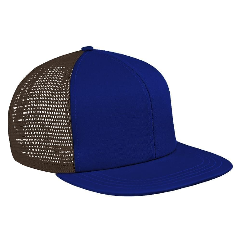 Royal Blue-Black Brushed Front Slide Buckle Flat Brim