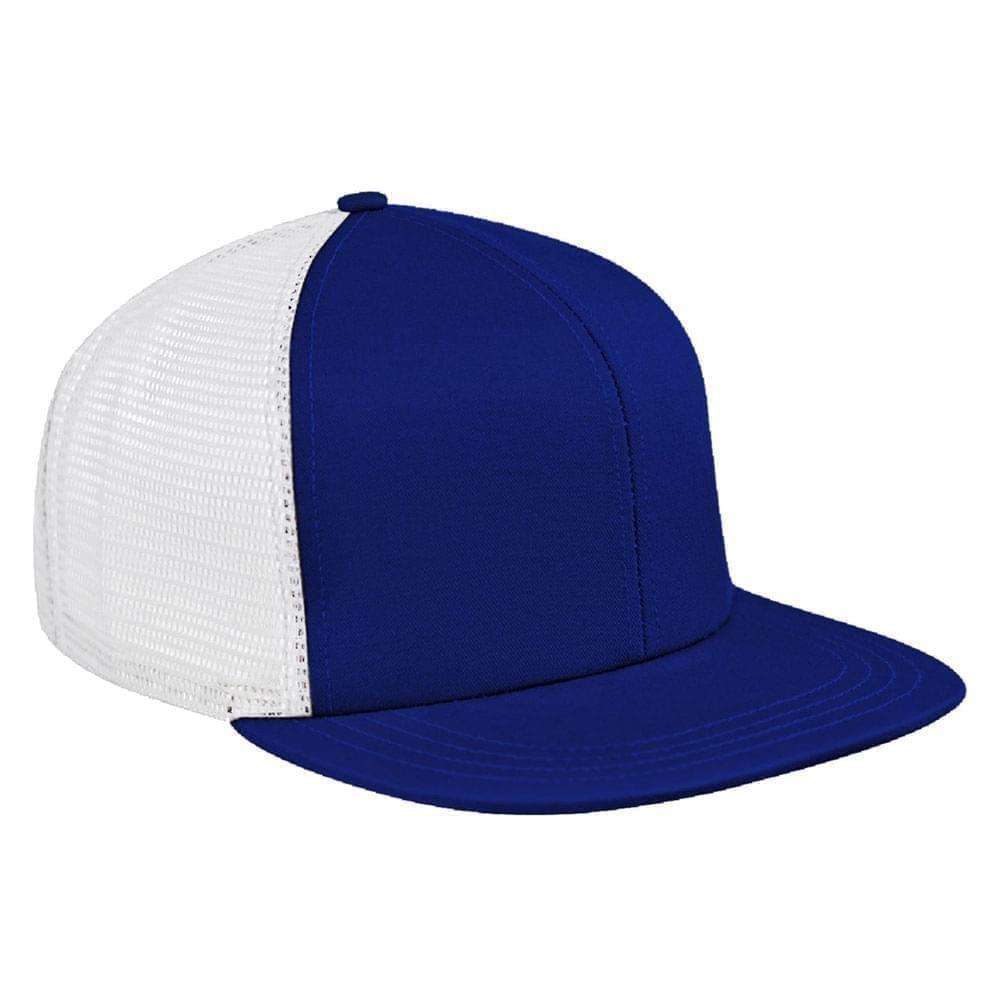 Royal Blue-White Brushed Front Snapback Flat Brim