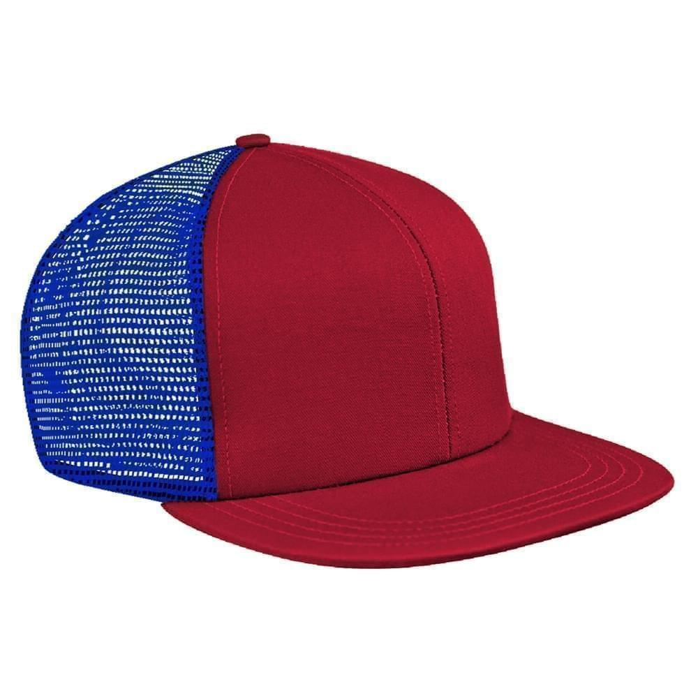 Red-Royal Blue Brushed Front Snapback Flat Brim