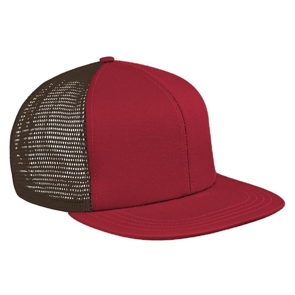 Red-Black Brushed Front Snapback Flat Brim