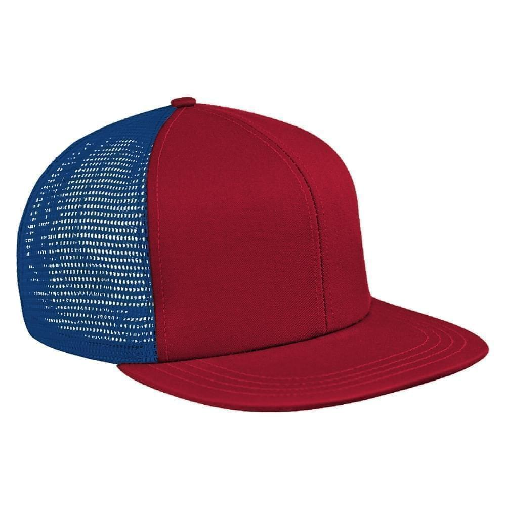 Red-Navy Brushed Front Snapback Flat Brim