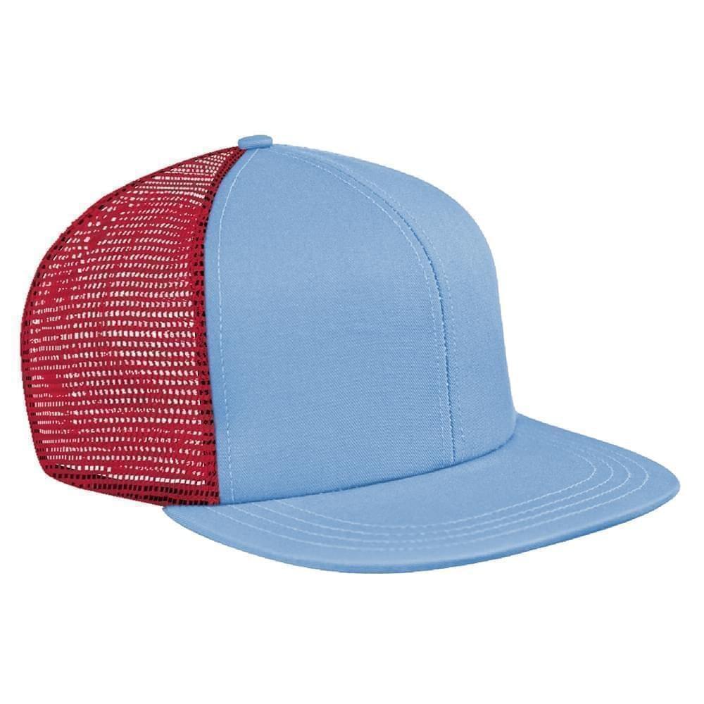 Light Blue-Red Brushed Front Snapback Flat Brim