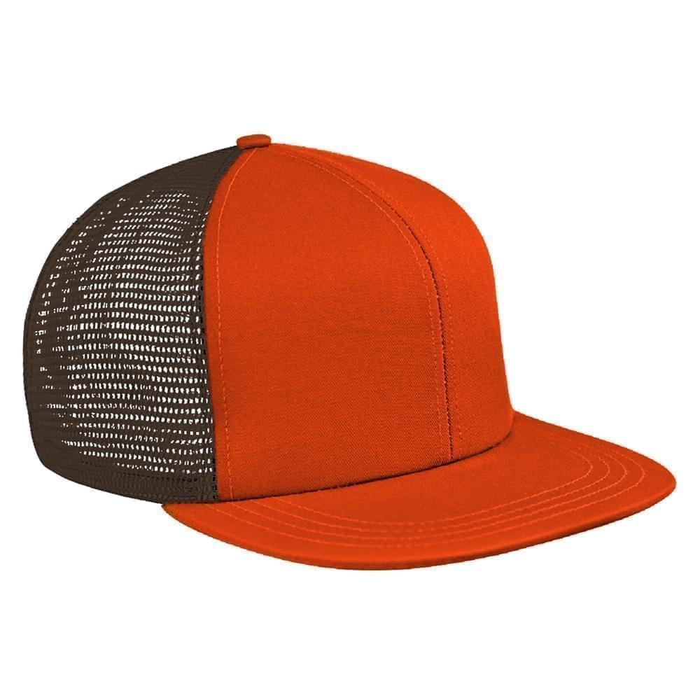 Orange-Black Brushed Front Snapback Flat Brim