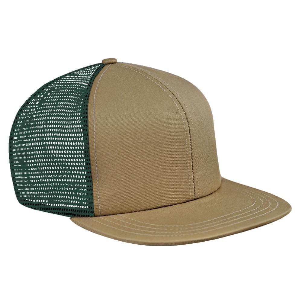 Khaki-Hunter Green Brushed Front Snapback Flat Brim