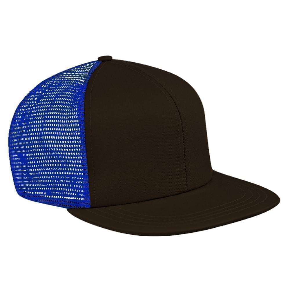 Black-Royal Blue Brushed Front Velcro Flat Brim