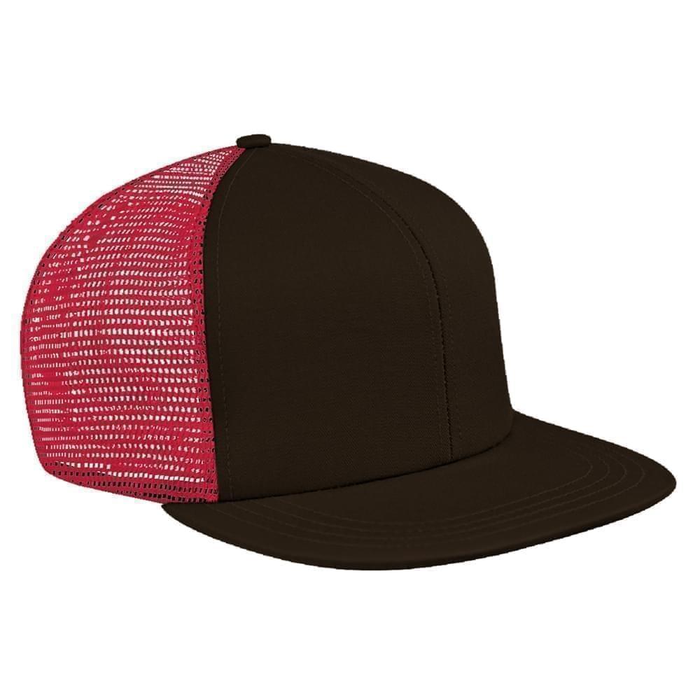 Black-Red Brushed Front Velcro Flat Brim
