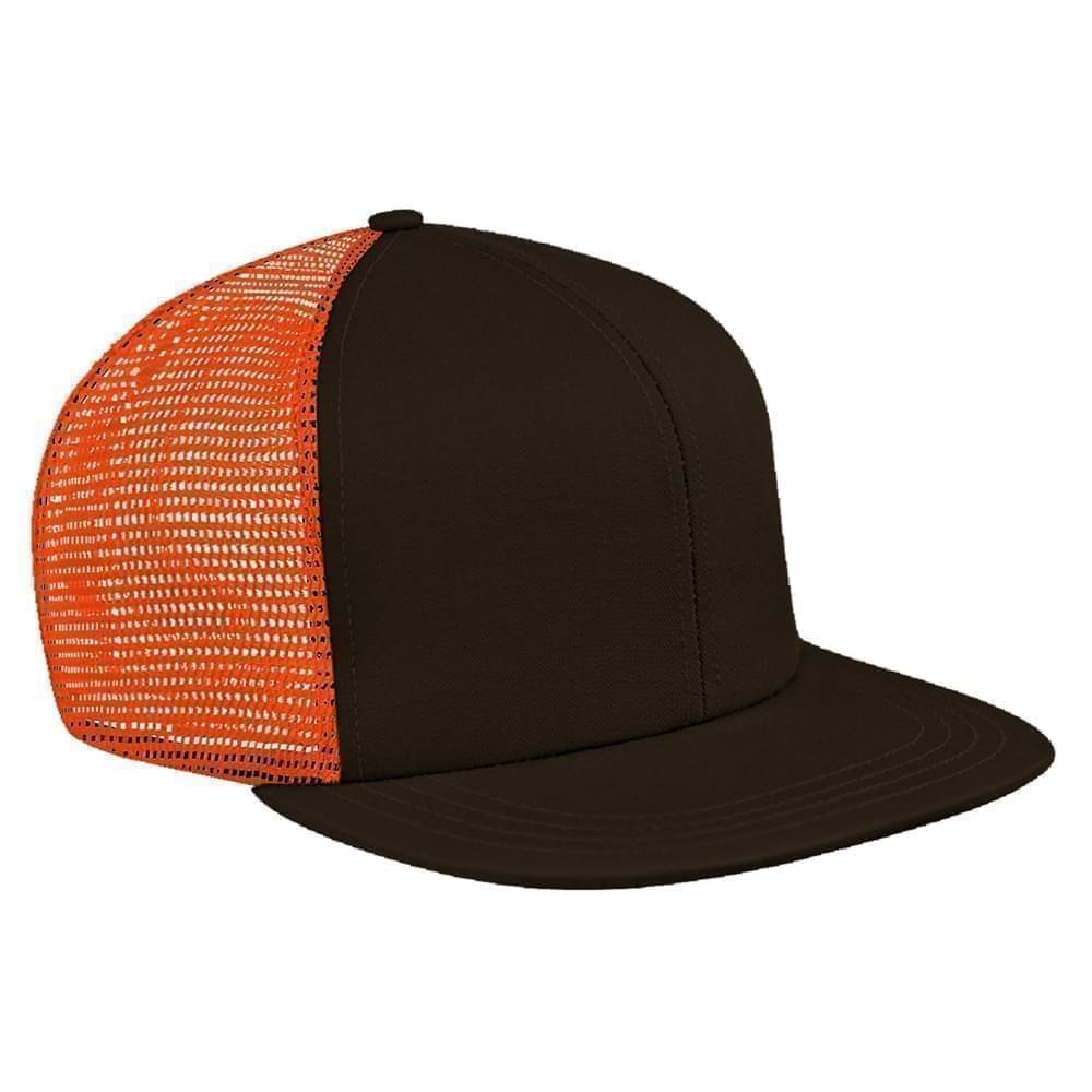 Black-Orange Brushed Front Snapback Flat Brim
