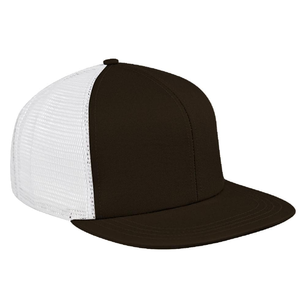 Black-White Brushed Front Snapback Flat Brim