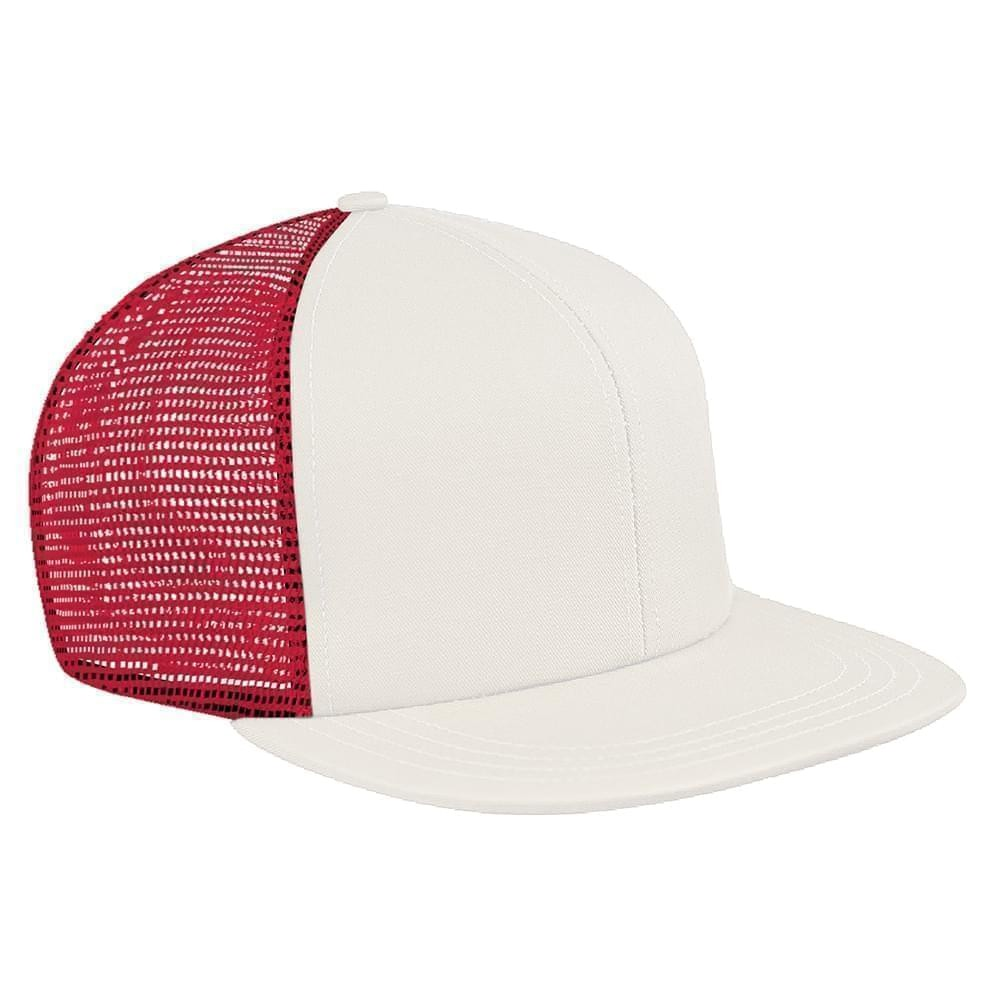 White-Red Brushed Front Snapback Flat Brim
