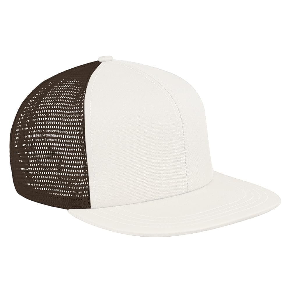 White-Black Brushed Front Slide Buckle Flat Brim