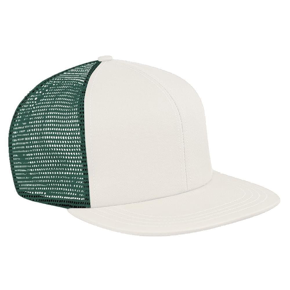 White-Hunter Green Brushed Front Snapback Flat Brim
