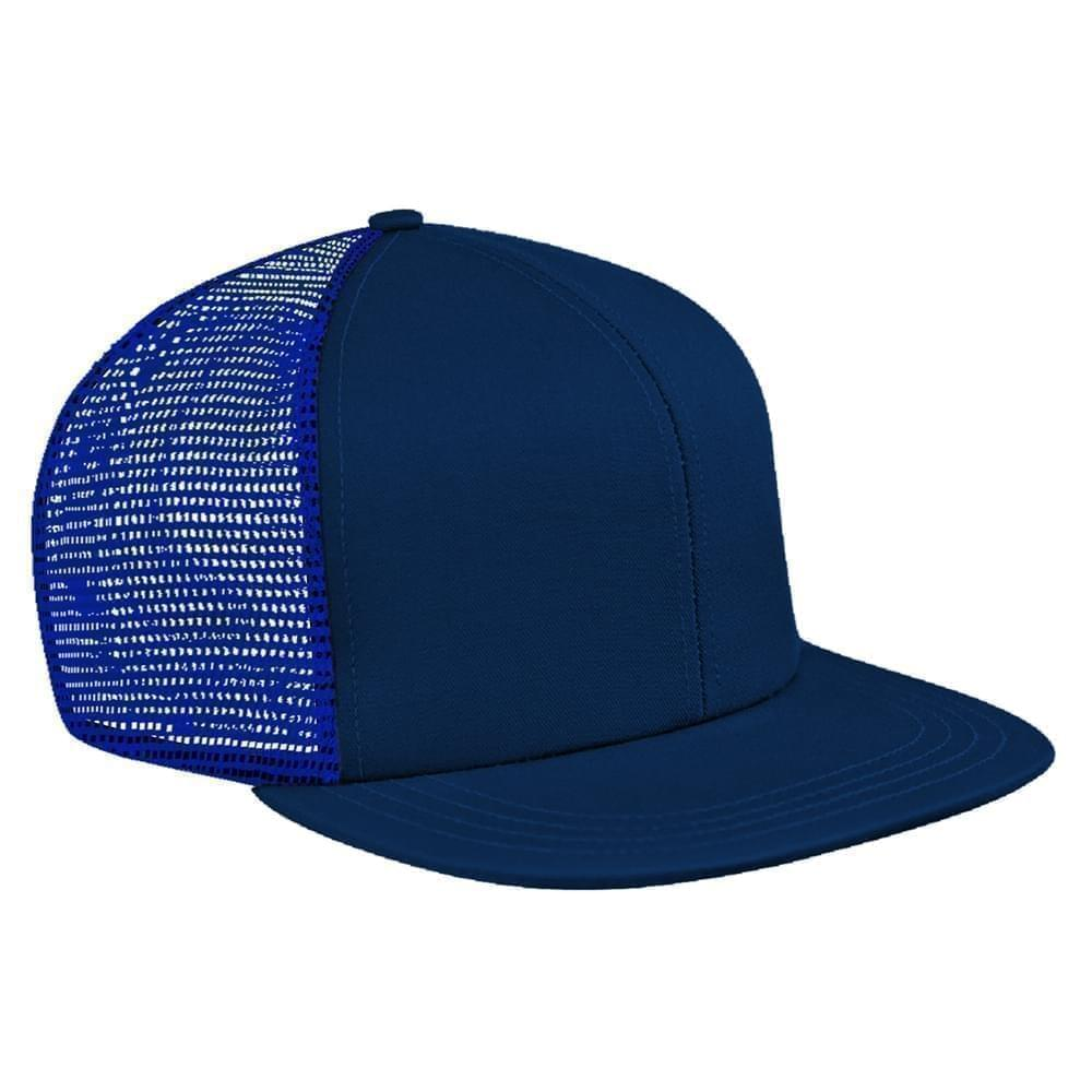 Navy-Royal Blue Brushed Front Snapback Flat Brim