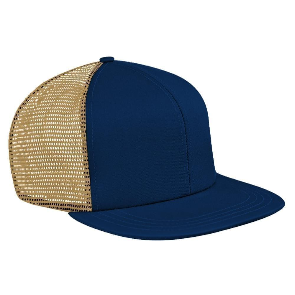 Navy-Khaki Brushed Front Slide Buckle Flat Brim