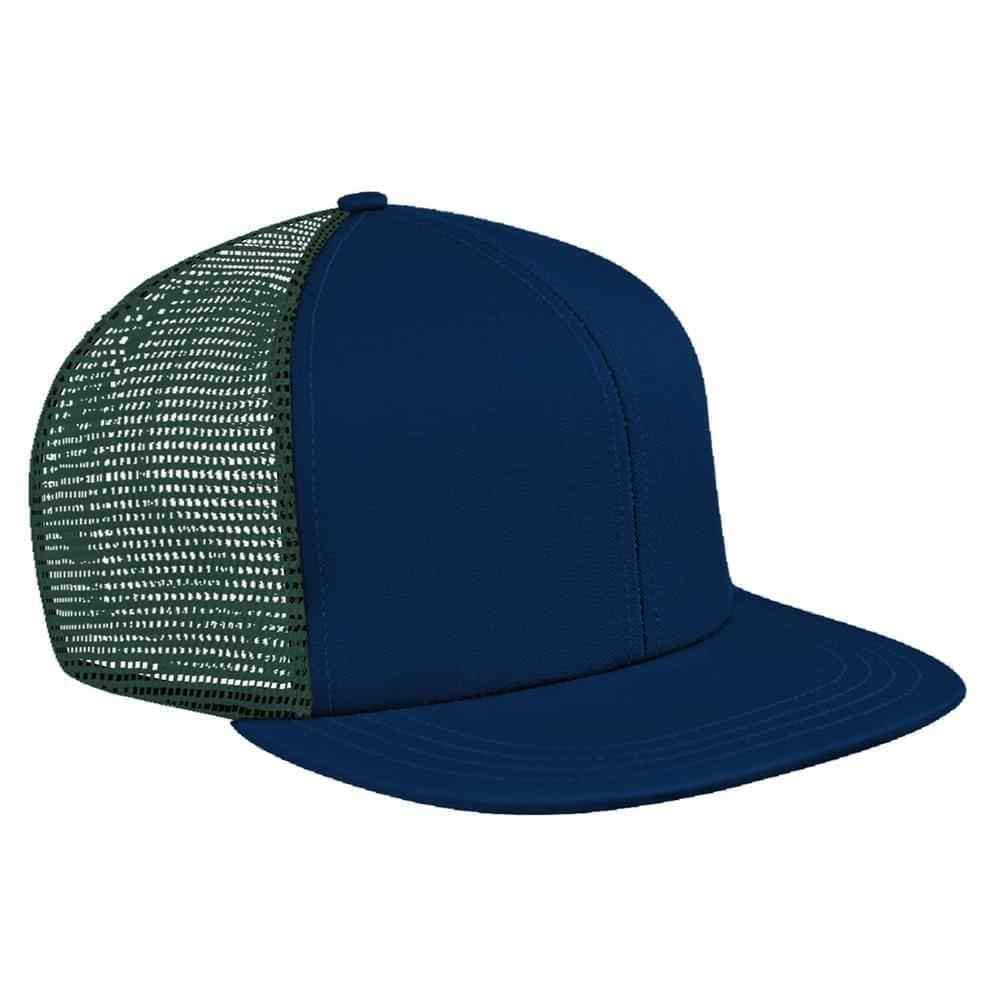 Navy-Hunter Green Brushed Front Slide Buckle Flat Brim