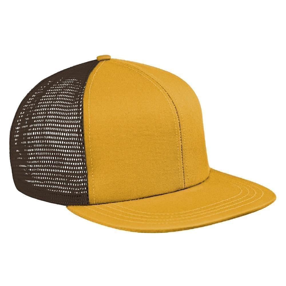 Athletic Gold-Black Brushed Front Snapback Flat Brim