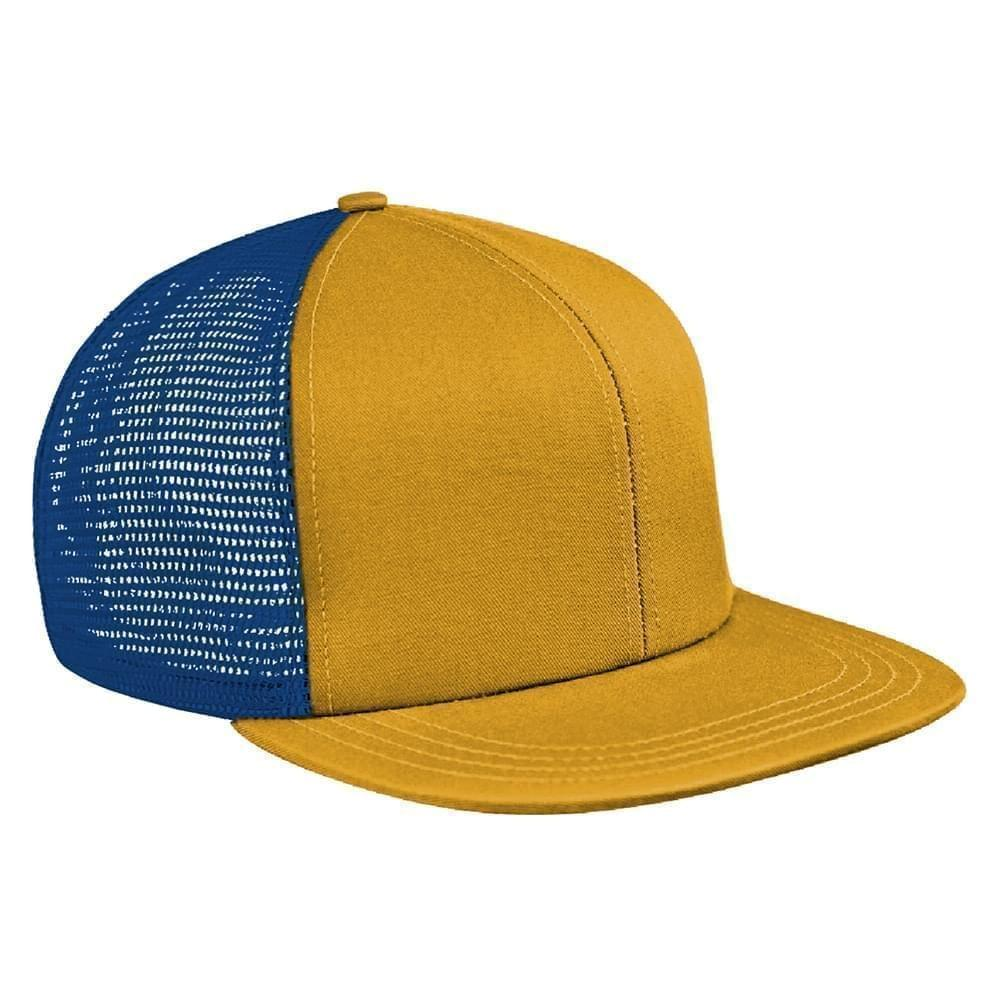 Athletic Gold-Navy Brushed Front Snapback Flat Brim