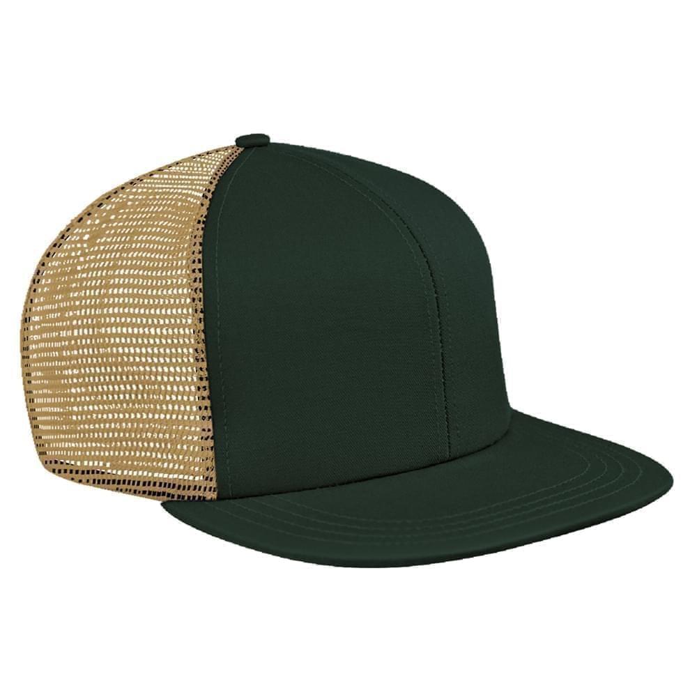 Hunter Green-Khaki Brushed Front Snapback Flat Brim