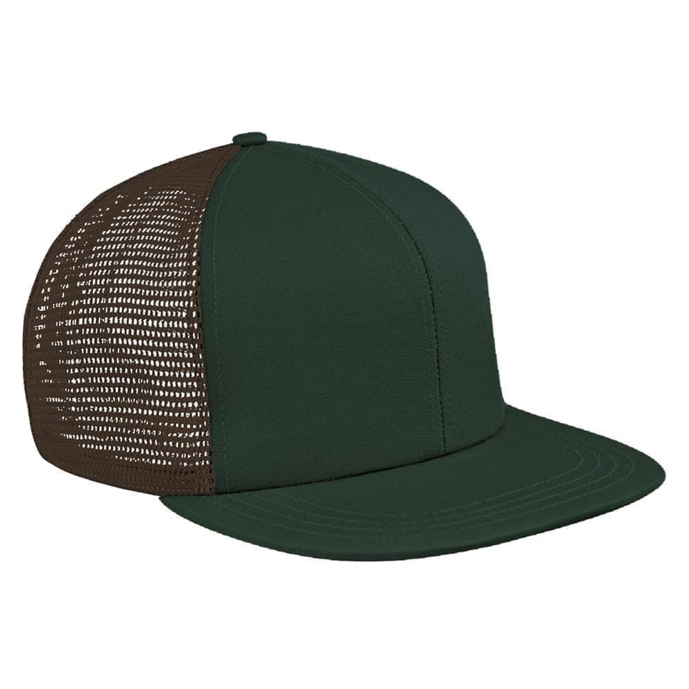 Hunter Green-Black Brushed Front Slide Buckle Flat Brim