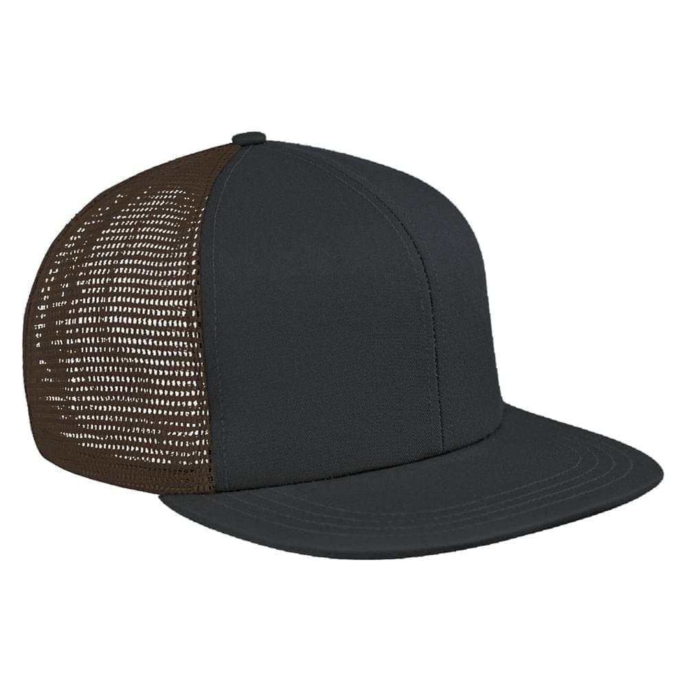 Dark Gray-Black Brushed Front Slide Buckle Flat Brim