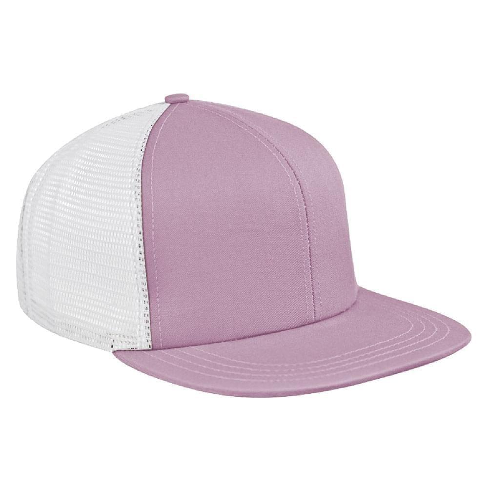 Pink-White Brushed Front Snapback Flat Brim